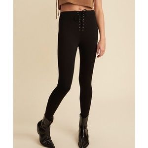 LPA black high waist lace up ponte legging pants